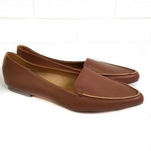 J Crew Edie Leather Loafer Flats in Brown